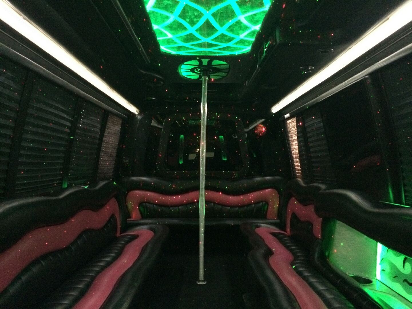 US Bargain Limo Deluxe seats in Party Bus 24 Pax