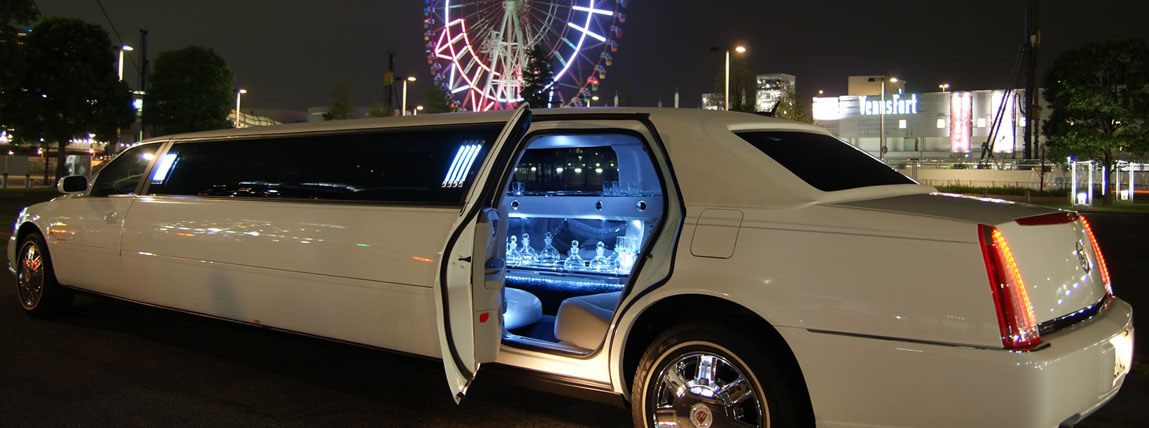 Exotic White Limousine Rental Fleet